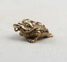37MM/1.5Collect Curio Rare Chinese Fengshui Bronze Exquisite Animal Money Golden Xenopus Toad Wealth Pendant Statue Statuary30g