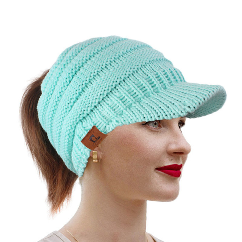 150pcs/lot Fashion Lovely Cute Princess Casual Women Ladies Visors Caps Knitted Solid Warm Ponytail Hat