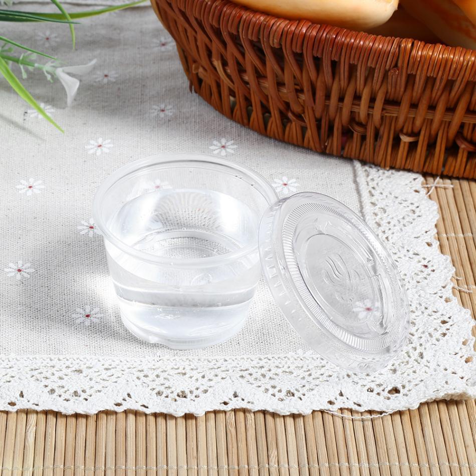 50 шт одноразовые пластиковые прозрачные чашки для соуса Chutney коробки с крышкой аксессуары для еды на вынос