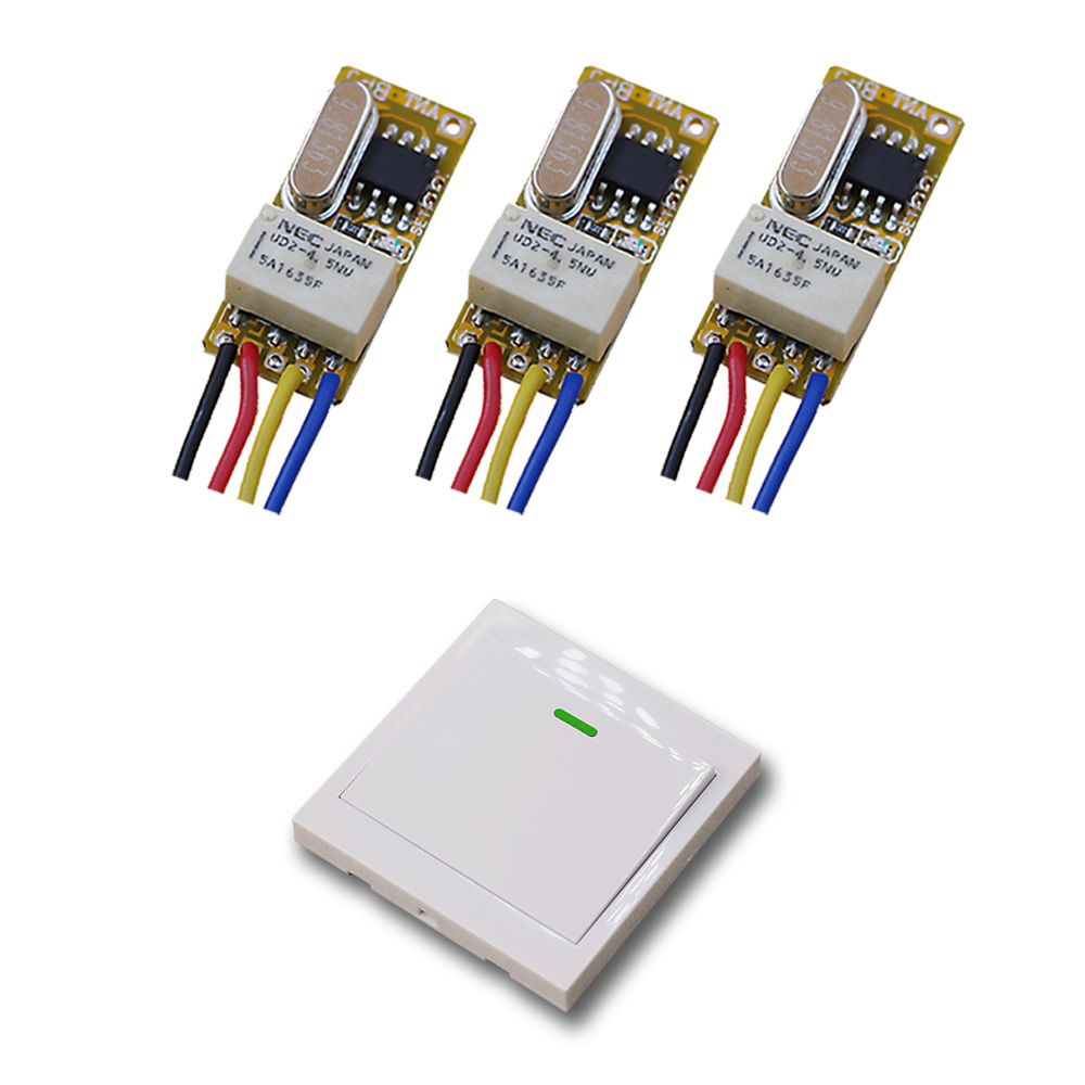 Pequeño volumen interruptor de relé inalámbrico dc 3.7 v 5 v 6 v 7.4 v 9 v 12 v