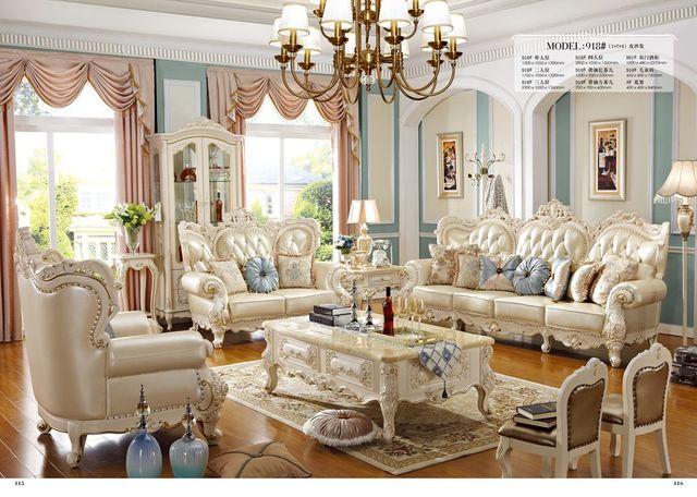 2017 Neue Ankunft Echtes Leder Chesterfield Sofa Europäischen Stil Moderne  Set Wohnzimmer Sofas Sitzgruppe Wohnzimmer Möbel