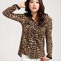 Mujeres Camisas Blusas 2016 Moda de Gran Tamaño Sexy Ladies Leopard Print Camisa de Cuello alto Con Mangas Largas de La Gasa de La Blusa