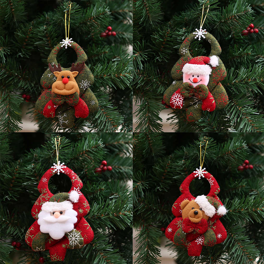 1pc Christmas Santa Claus Snowman Elk Doll Toy Christmas Tree Hanging Ornaments Decoration for New Year Gift Home Xmas Party