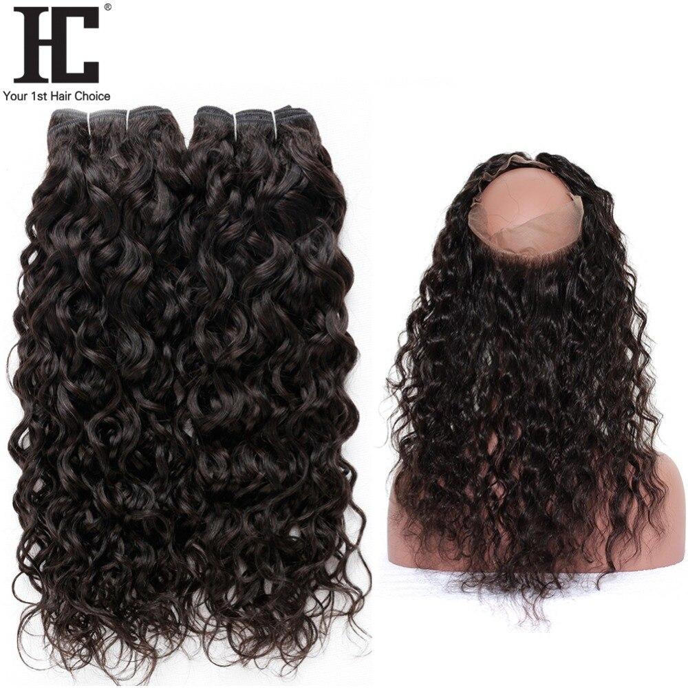 HC предварительно выщипанные 360 кружевные фронтальные с пучками, волна воды, бразильские человеческие волосы, 2 пучка с фронтальной застежко