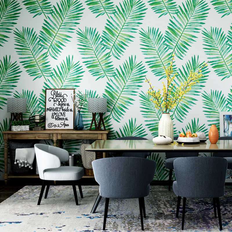 ... Nordic Style Paper Wallpaper Southeast Asian Tropical Rain forest Plant  Banana Leaf Living Room Bedroom TV ... dd386f64a17d
