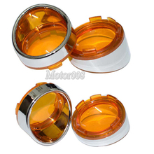 4Pcs Chrome Visor-Style Turn Signal Bezels With Amber Lens Deuce for Harley Touring Softail Dyna Sportster XL1200N XL883N FLTRI