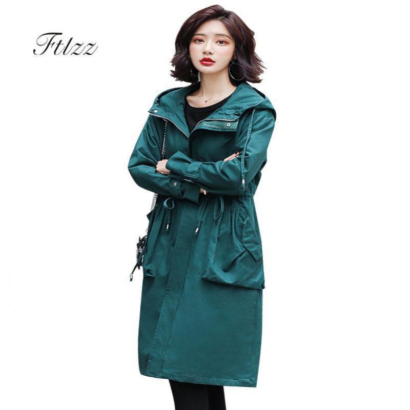 New 2019 Women Plus Size Fashion Black   Trench   Coat Autumn Winter Hooded Meidum Long Overcoat Woman Korean Street Windbreaker
