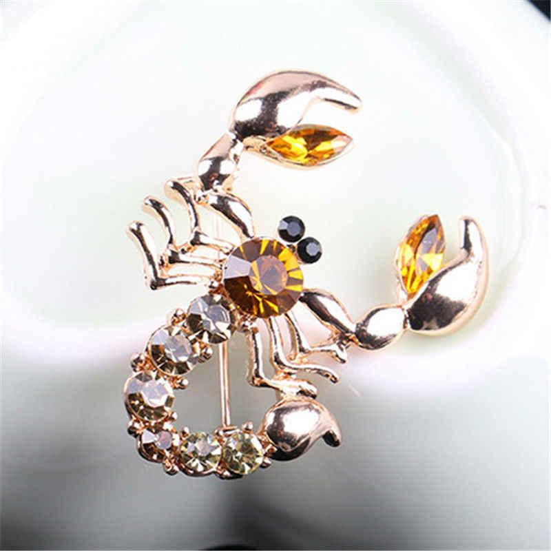 Dekoratif taklit taklidi konfeksiyon takı broş gelin düğün taklit kristal hayvan akrep broş