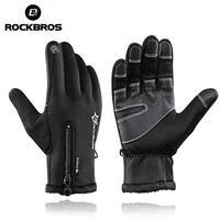 ROCKBROS Thermal Windproof Warm Fleece Gloves Winter Cycling Gloves Man Women Anti Slip Water Resistant Anti