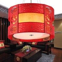 Китайская Подвеска светильники мужские имитация классический прихожей круглый подвесной светильник китайский стиль деревянный