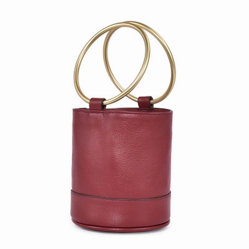 European And American Leather Handbags Bucket Bag Top Layer Leather Portable Bucket Bag