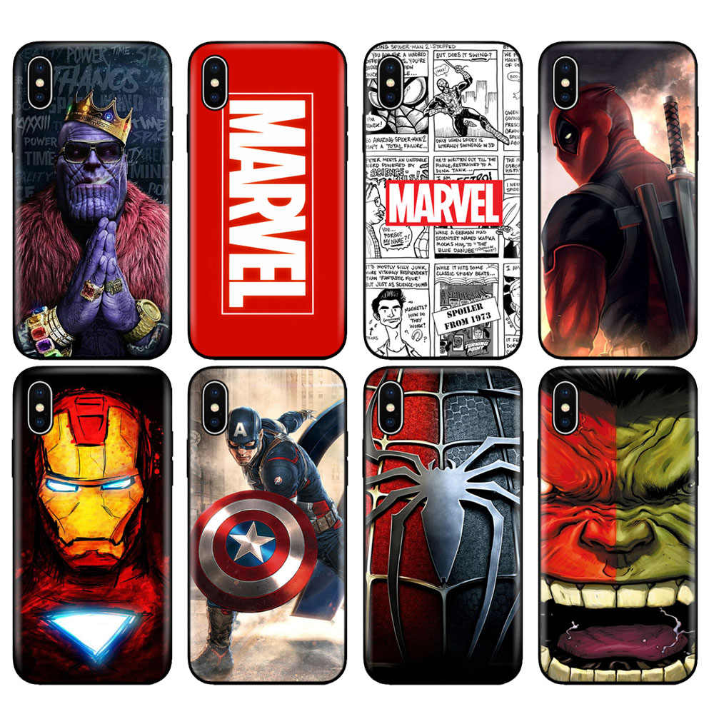 Hitam TPU Case untuk iPhone 5 5S SE 6 6S 7 8 Plus X 10 XR X Max Case Silicon Cover Marvel Avengers Kapten Ironman thanos