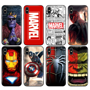 Black tpu case for iphone 5 5s se 6 6s 7 8 plus x 10 XR XS MAX case silicon cover Marvel Avengers captain ironman thanos(China)