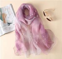 Inverno nuovo modo elegante di alta qualità sciarpe ciliegio modello gradiente di seta sciarpa di lana scialle aria condizionata Primavera