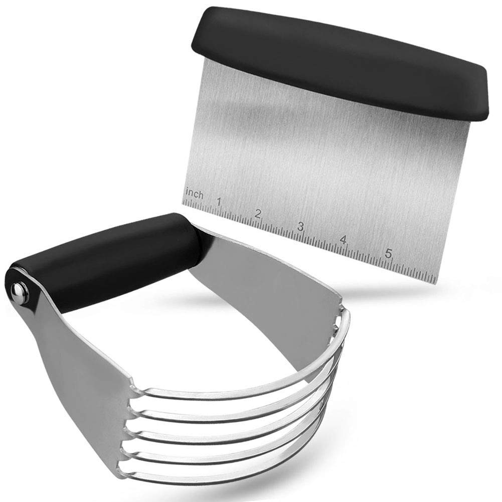 Pastry Cutter Set,Pastry Blender And Dough Scraper, Professional Stainless Steel Bladed Dough Cutter/Blender Scraper