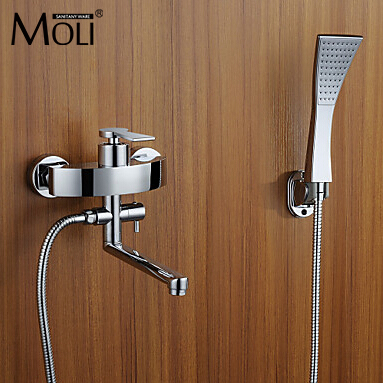 wall mount tub faucet bathtub mixer controlled faucet with hand shower bath mixer with swivel spout
