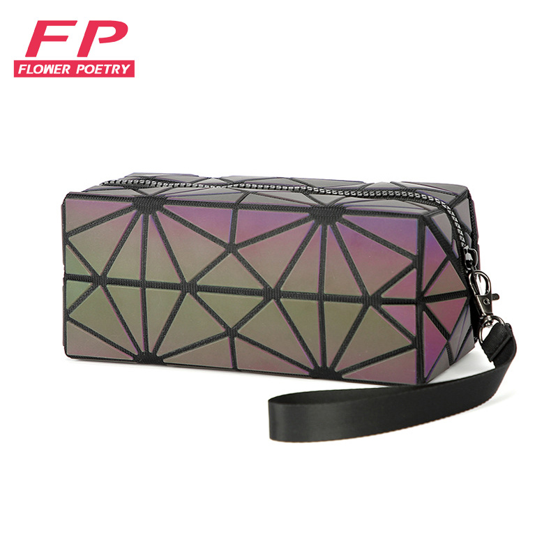 New Geometric Zipper Cosmetic Bags Women Luminous Makeup Bag Ladies Cosmetics Organizer Storage Bag Travel Make Up Bag Wholesale
