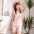 2016 new small fresh sweet summer sleeveless cotton pajamas female thin clothes Home Furnishing Princess pajamas.