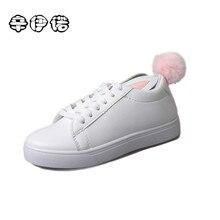 2017 fashion women flats lovely rabbit shoes Spring autumn ladies flat shoes detachable fur pompom women casual shoes XYN1168