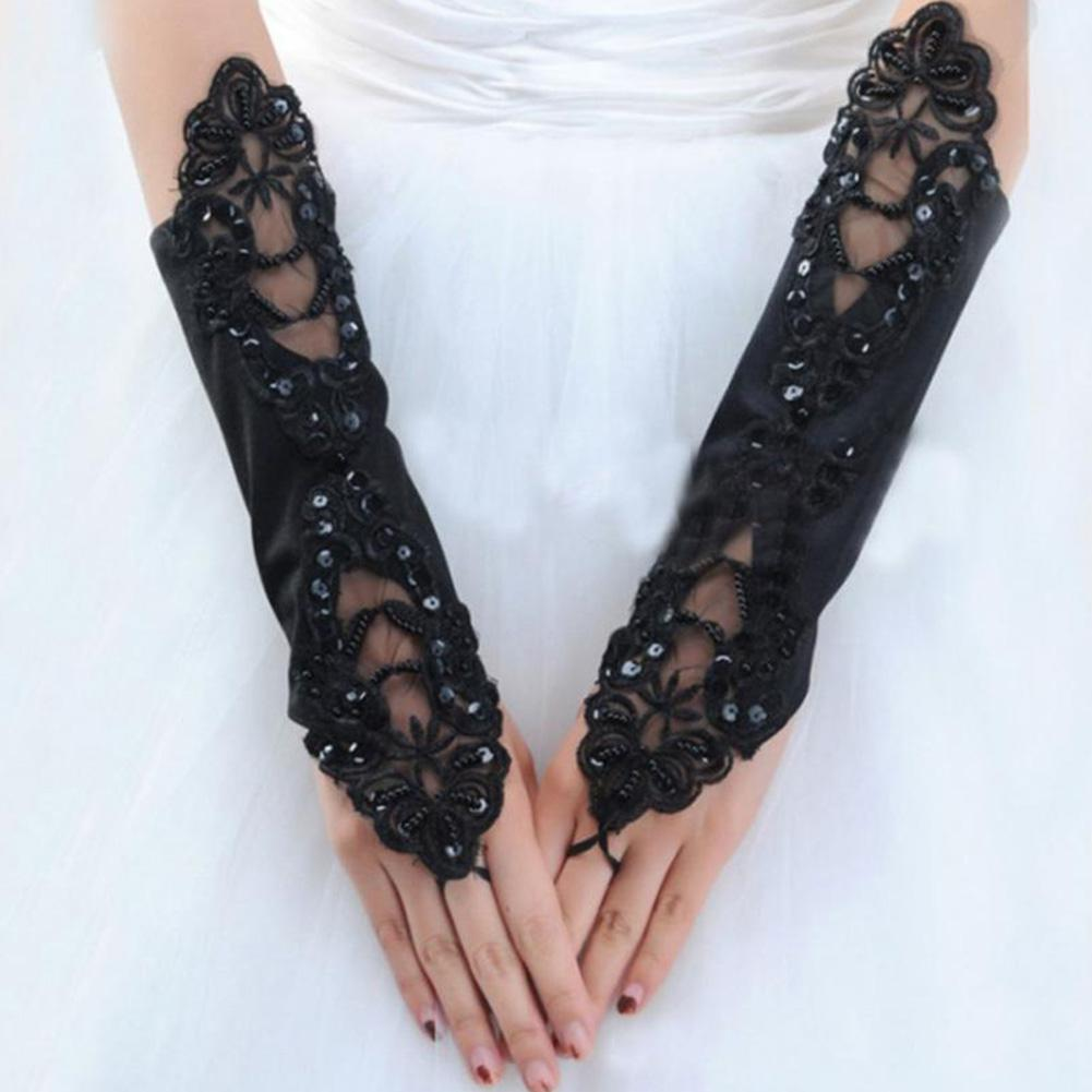 MISSKY Women Gloves Solid Black Color Wedding Dress Matching Gloves Fingerless Satin Lace Gloves For Female