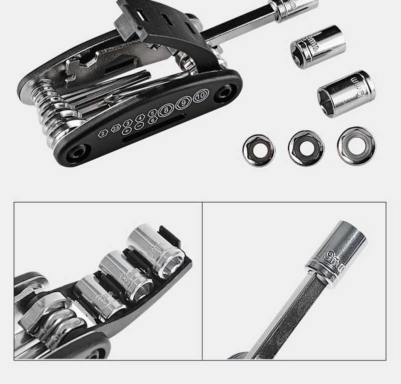 Mini outil de réparation de vélo multifonction 16 en 1 Kit pour vélo Scooter électrique moto tournevis pliant clé hexagonale