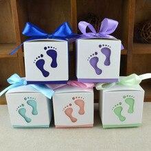 Caja de dulces para boda, forma de los pies, fiesta, boda, Baby Shower, Favor, Cajas de Regalo de papel