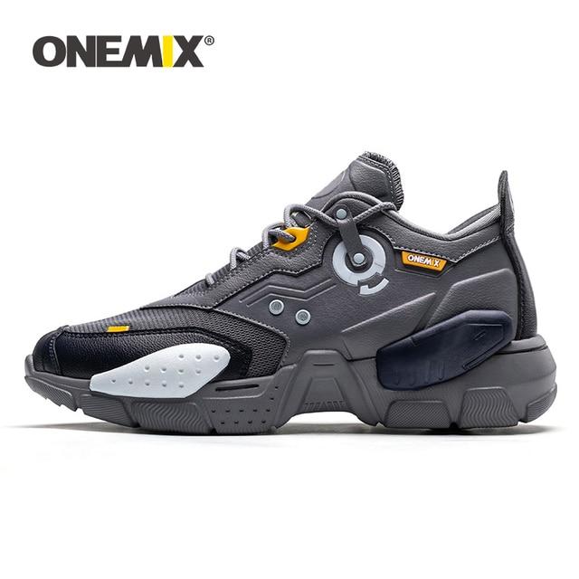ONEMIX 2020 erkekler koşu ayakkabıları teknoloji tarzı rahat sönümleme moda Unisex spor tenis baba ayakkabı erkekler koşu Sneakers