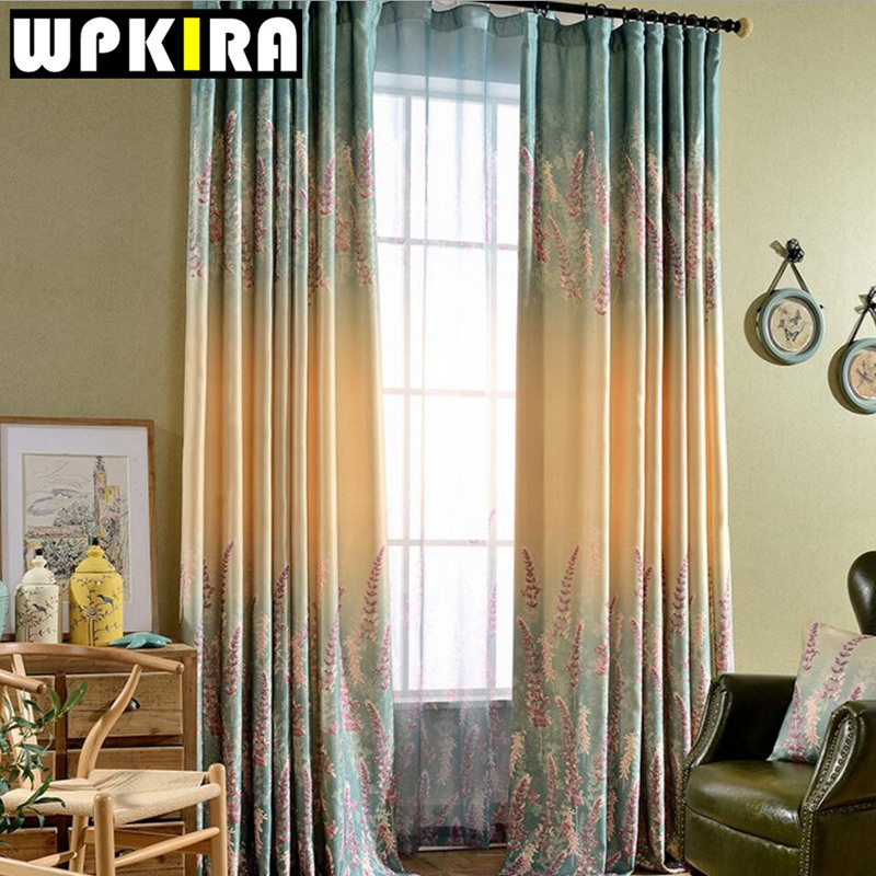 Europe american floral screens lavender print shade cloth living room window curtain panel for Lavender curtains for living room