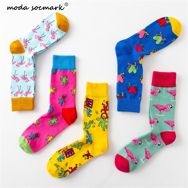 Moda Socmark 2019 Colorful Flamingo Happy Socks Men Fashion Funny Socks Men Women Creative Graffiti Tide Sox Couple Socks Male