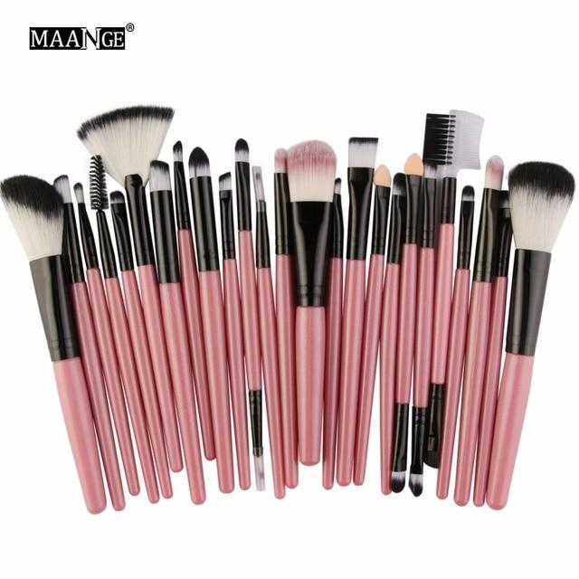 MAANGE25pcs Makeup Brushes Beauty Tool Set Foundation Blending Blush EyeShadow Brow Lash Fan Lip Face MakeUp Concealer Brush Kit 4