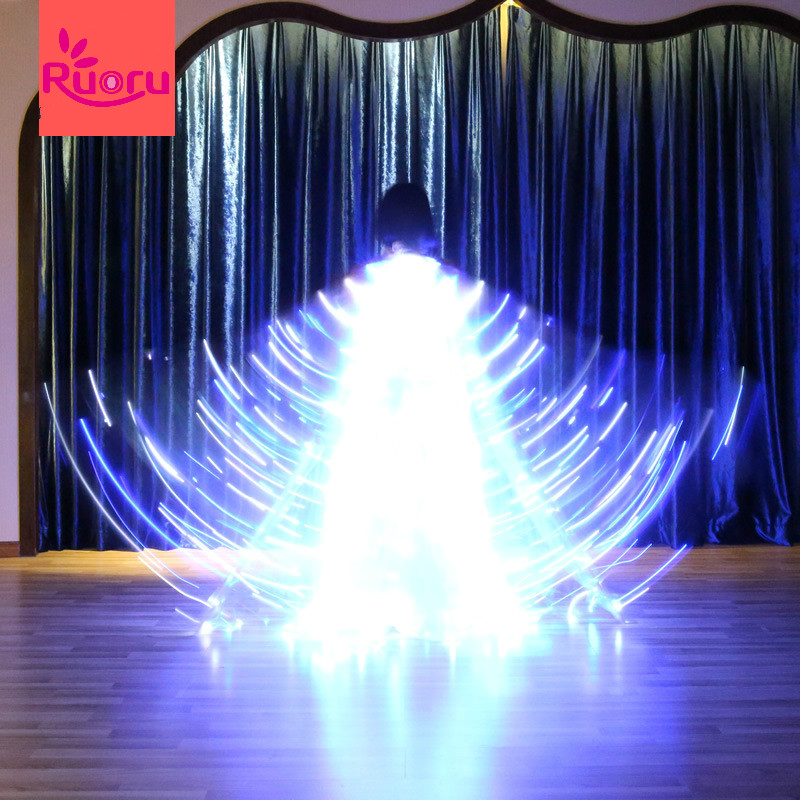 Ruoru Flickering Star Series Blue white Color Belly Dance Led Isis Wings Belly Dance Led Wings Props Girls Dance Wing 360 Degree