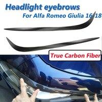 2 Pcs True Carbon Fiber Headlights Eyebrow Lights Eyelids Cover For Alfa Romeo Giulia 2016 2017 2018 Car Styling