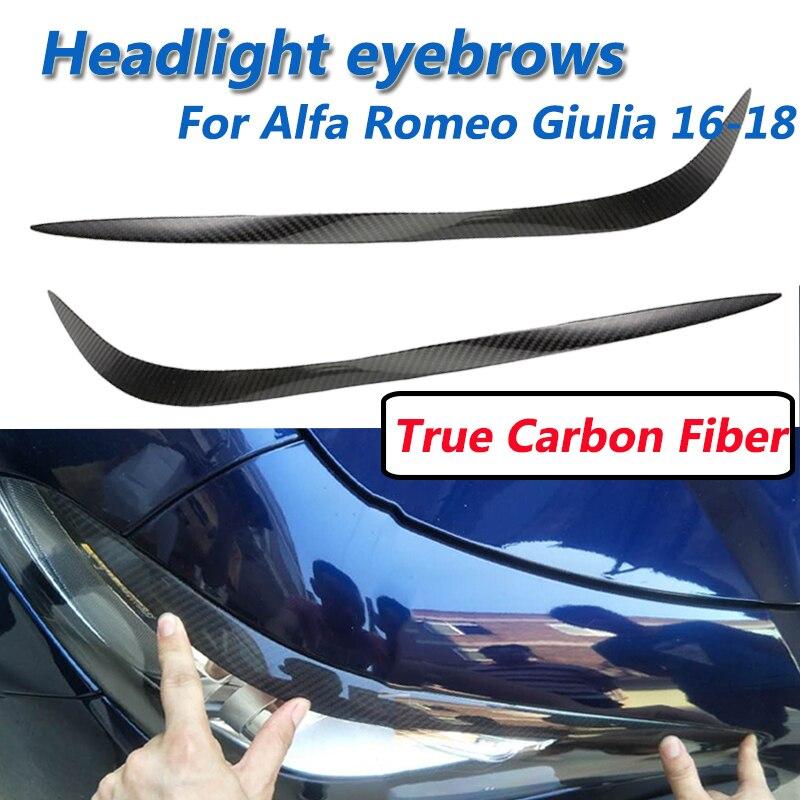 2 pièces vraie Fiber de carbone phares sourcil lumières paupières couverture pour Alfa Romeo Giulia 2016 2017 2018 voiture style