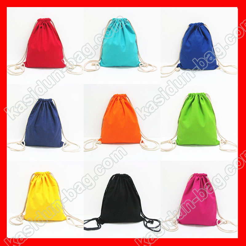 (100pcs/lot) size 24x32cm  blank cotton canvas drawstring backpack  for kids