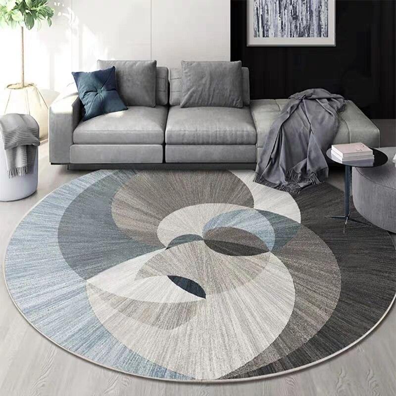 Tapis imprimé de salon de forme ronde géométrique nordique, tapis de salon de décoration, tapis d'hôtel, INS populaire pas de tapis de plancher de cheveux