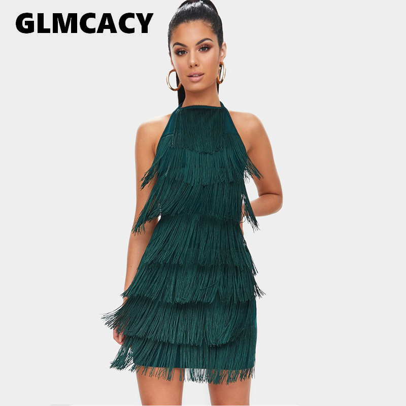 Women Tassels Halter Strap Backless Sexy Bodycon Party Dress Summer Runway Dresses Glam Party Dress Gatsby Fringe Flapper Dress