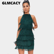Women Tassels Halter Strap Backless Sexy Bodycon Party Dress Summer Runway Dresses  Glam Party Dress Gatsby Fringe Flapper Dress 9527e077412e