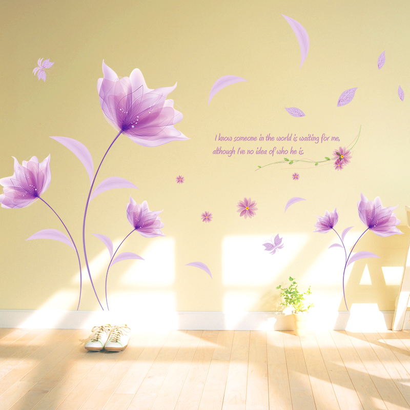 New Purple Flowers Vinyl 3d Wall Stickers Decoration For Living Room ...