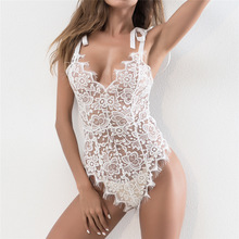 ADYABY Floral Embroidery Handmade Bandage Type Black White Lace Bodysuits Sexy
