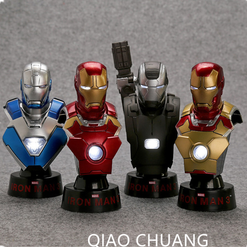 Iron Man 3 Bust 1/6 Scale Collectible Busts with LED Light PVC Action Figures Model Toys 12CM 4Pcs/Set HRFG502 RETAIL BOX G26 patrulla canina with shield brinquedos 6pcs set 6cm patrulha canina patrol puppy dog pvc action figures juguetes kids hot toys