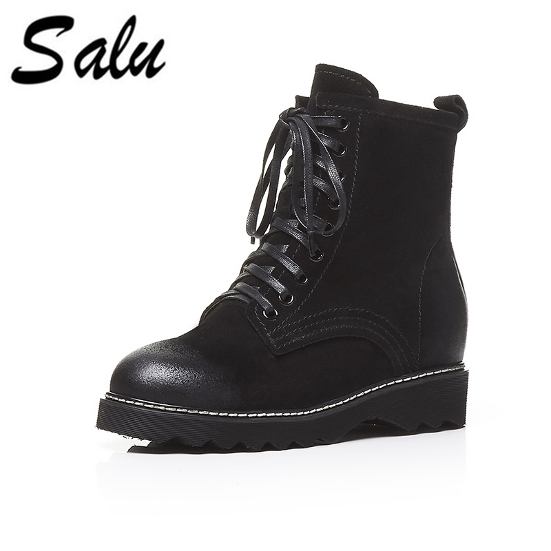 Salu 2018 new Genuine leather Women Ankle Boots lace up Sexy Women Shoes Platform flat High Heel Winter Shoes Women Boots salu 2018 new genuine leather women ankle boots lace up sexy women shoes platform flat high heel winter shoes women boots