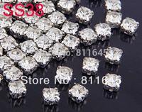 Ss38 8 MM 288 pcs prata limpar cristal solto Spacer Sew On garra strass Fit descobertas jóias