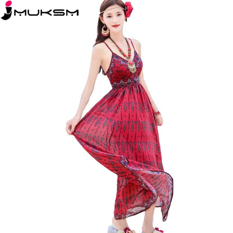 2019 été femmes en mousseline de soie robe sans manches rouge lâche tenue décontractée longues robes plage rétro femmes doux Sexy robe vestidos H04