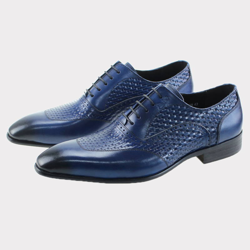 2017 Genuine Leather Blue Lace Up Pointed Toe Oxford Handmade Formal Party Wedding Men Shoes Business Man Dress Suit Footwear 2016 new fashion 100% real genuine leather formal brand man italian oxford men s business dress lace up shoes gl065