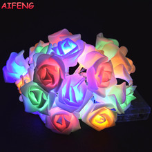 AIFENG 10Led 20Leds Rose Garland AA Battery Light String Cold Warm White Colorful Pink Rose Garland Christmas Wedding Decoration(China)