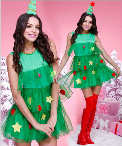Vocole Women Green Christmas Tree Costume Miss Santa Claus Dress Xmas Party Fancy Dress