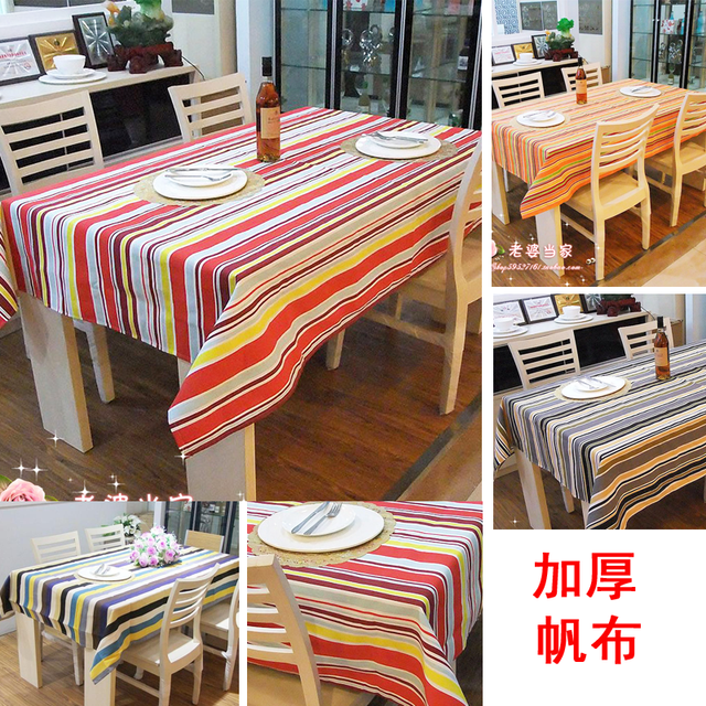 Stripe 3 table cloth table cloth tablecloth dining table cloth 100% cotton canvas gremial multi-purpose towel a variety of