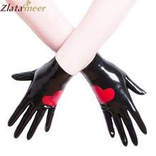 Резиновые латексные перчатки для женщин, ветрозащитные красные с узором в виде сердца, черные резиновые перчатки с пальцами, индивидуальный сервис LA057