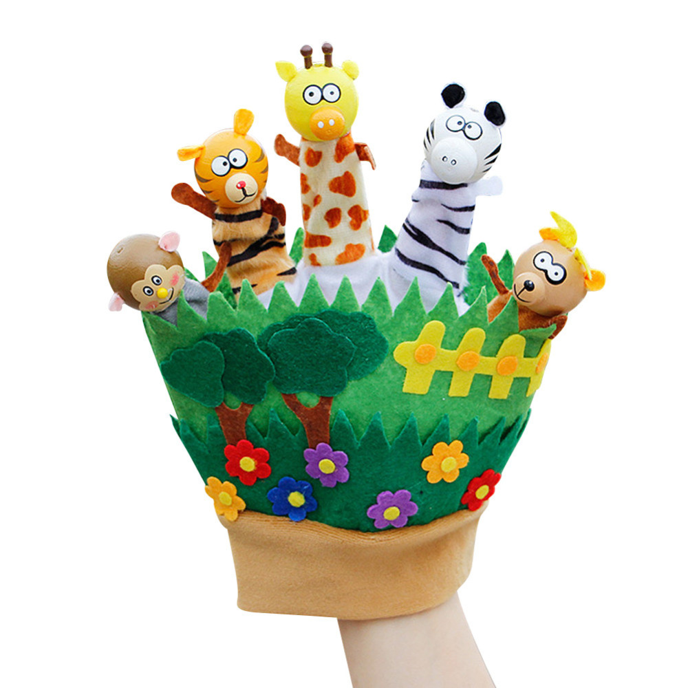 5 pcs/lot Plush Baby Stuffed Toys Finger Puppets Tell Story Props Animal Doll Kids Toys Hand Puppet with 5 Animal Group wiben animal hand puppet action