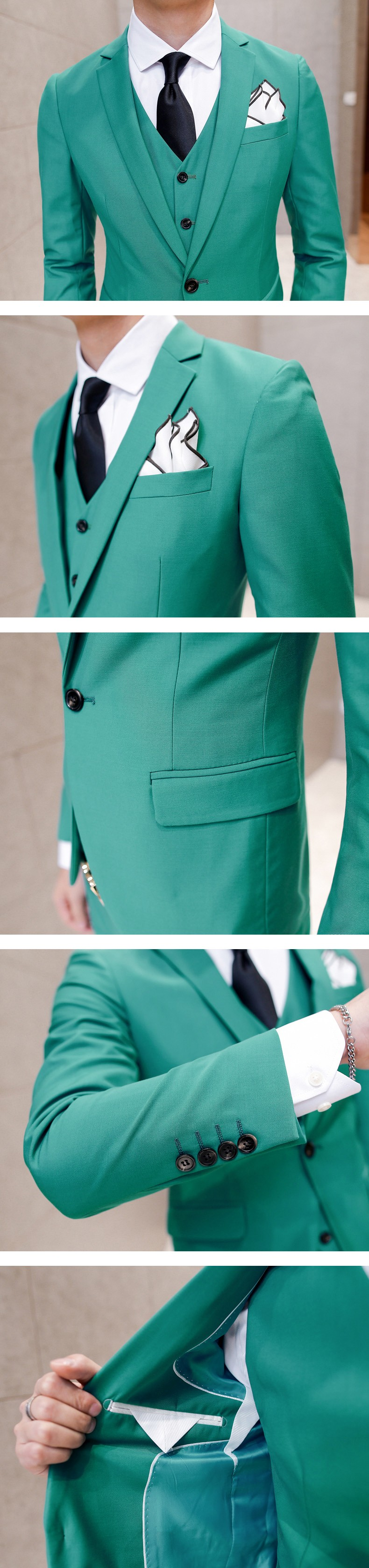 green prom suit